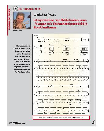Interpretation von Achtelnoten-Leseübungen mit Sechzehntelparadiddle-Kombinationen
