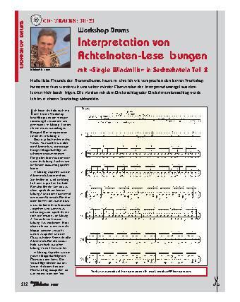 Interpretation von Achtelnoten-Leseübungen mit Single Windmills in Sechzehnteln (Teil 2)