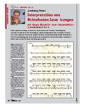 Interpretation von Achtelnoten-Leseübungen mit Single Windmills oder Dreierwirbeln in Sechzehnteln (Teil 4)