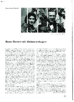 Hans Hotter als Bühnensänger