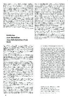 Kritisches zum Deutschen Jazz-Schallplatten-Preis 1959
