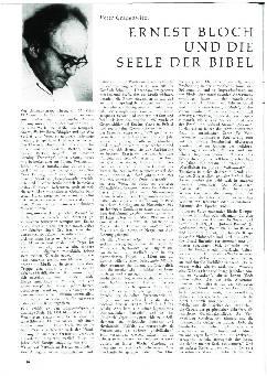 Ernest Bloch und die Seele der Bibel