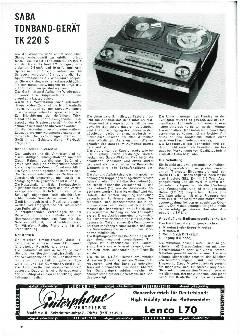Saba Tonband-Gerät TK 220 S