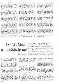 Die Alte Musik und die Schallplatte