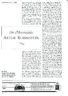 Der Mozartspieler Artur Rubinstein