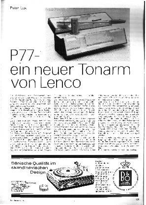 P77 - ein neuer Tonarm von Lenco