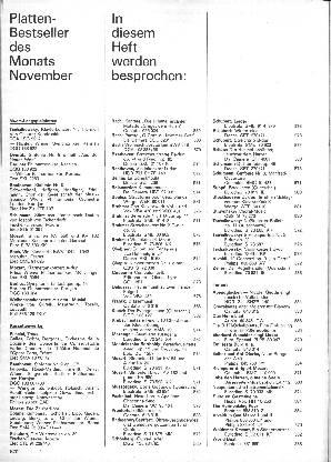 Plattenbestseller des Monats November