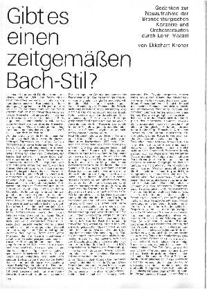 Gibt es einen zeitgemäßen Bach-Stil?