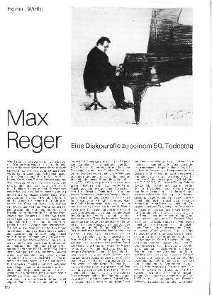 Max Reger - Eine Diskographie zu seinem 50. Todestag