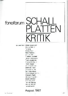 Schallplattenkritik August 1967