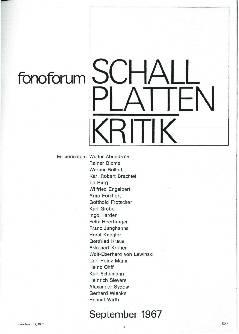 Schallplattenkritik September 1967