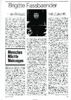 Brigitte Fassbaender - Ein Mezzo mit Zukunft