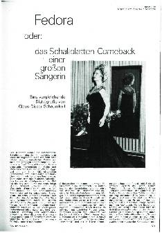 Fedora oder: Das Schallplatten-Comeback einer großen Sängerin