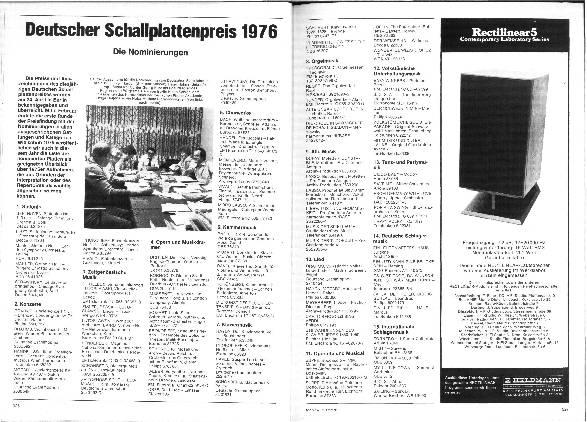 Deutscher Schallplattenpreis 1976 - Die Nominierungen