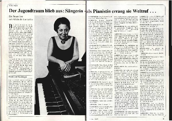 Der Jugendtraum blieb aus: Sängerin - als Pianistin errang sie Weltruf...