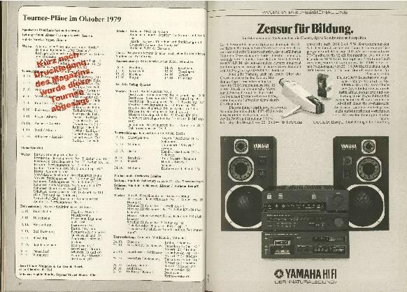Tournee-Pläne im Oktober 1979