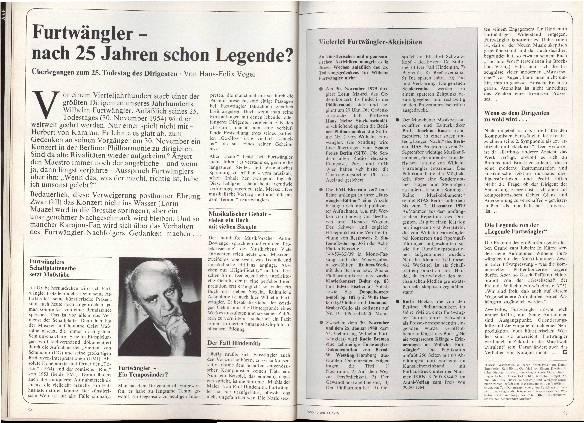 Furtwängler - nach 25 Jahren schon Legende?