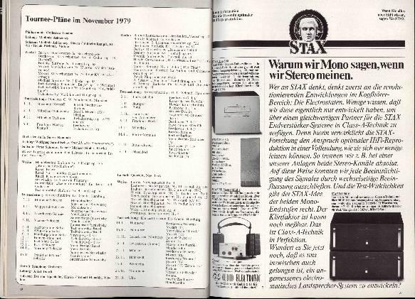 Tournee-Pläne im November 1979