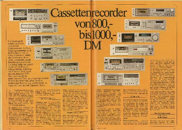 Kassettenrekorder von 800 bis 1.000 DM