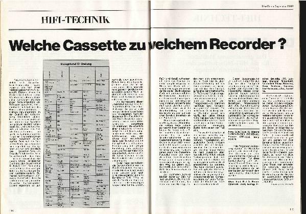 Welche Kassette zu welchem Rekorder?