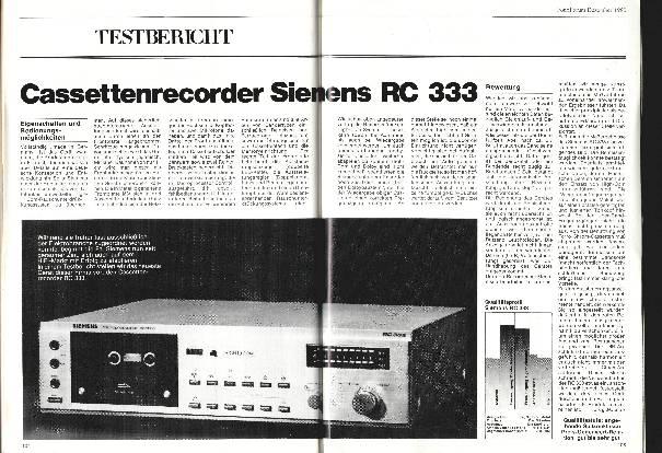 Kassettenrekorder Siemens RC 333