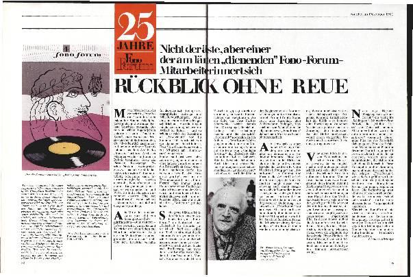 25 Jahre fono forum Rückblick ohne Reue
