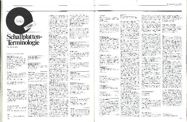 Schallplatten-Terminologie Teil 7