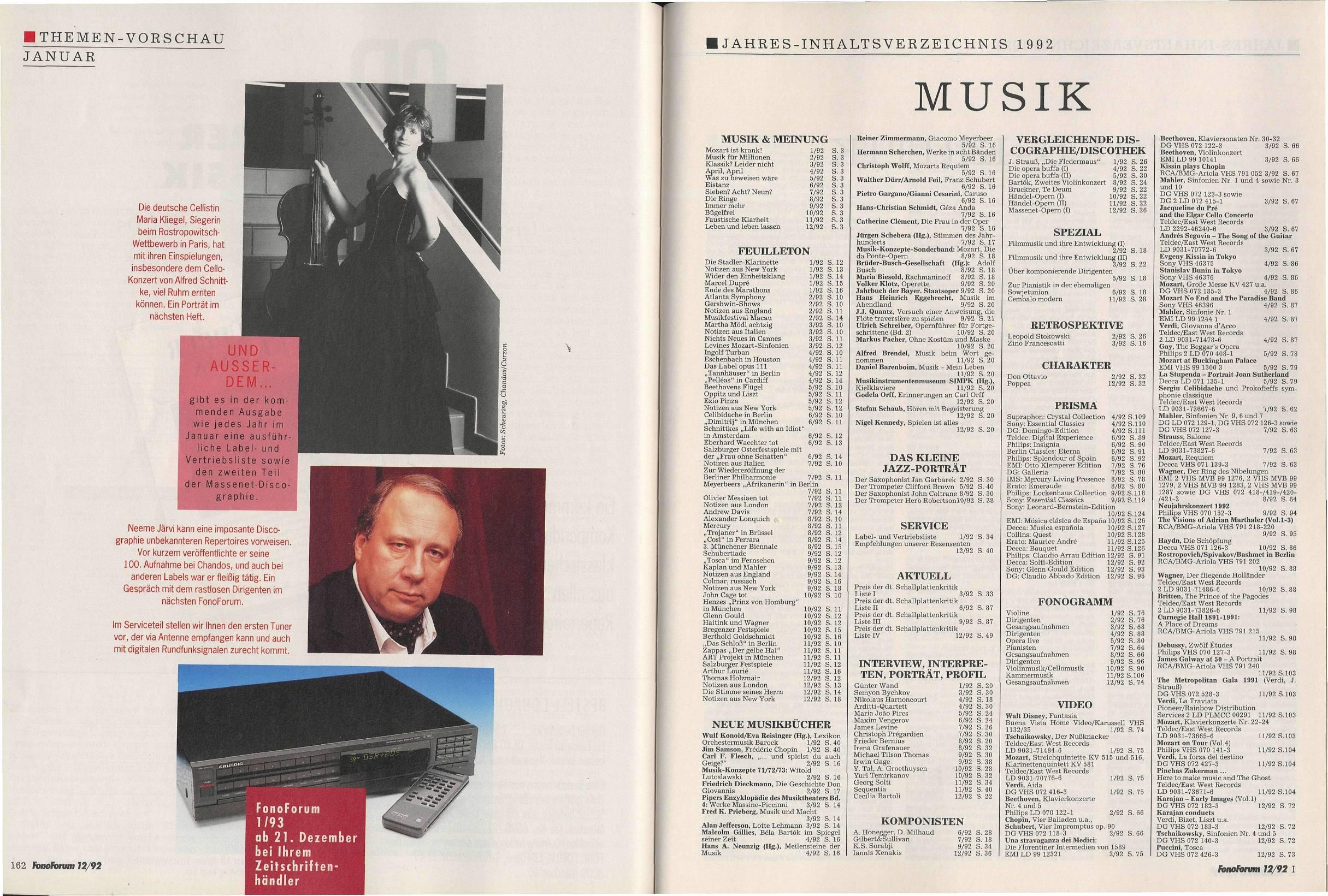 Jahres-Inhaltsverzeichnis 1992