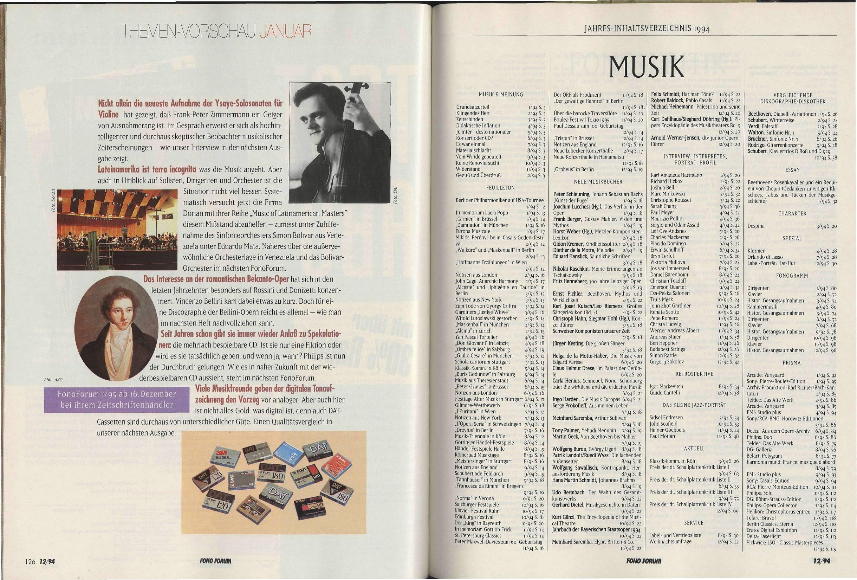 Jahres-Inhaltsverzeichnis 1994