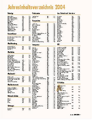 Jahresinhaltsverzeichnis 2004