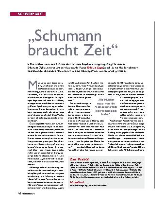 Schumann braucht Zeit