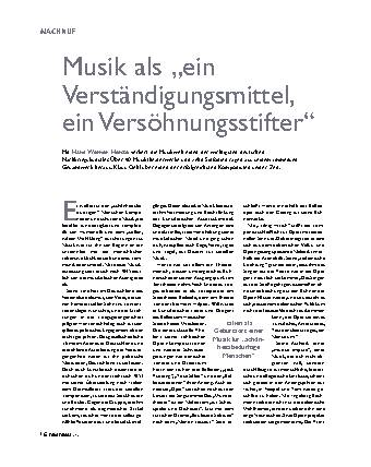 """Musik als """"ein Verständigungsmittel, ein Versöhnungsstifter"""""""