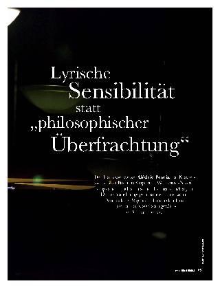 """Lyrische Sensibilität statt """"philosophischer Überfrachtung"""""""