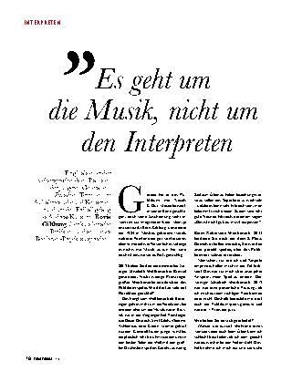 Es geht um  die Musik, nicht um den Interpreten