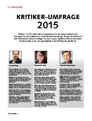 KRITIKER-UMFRAGE 2015