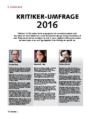 KRITIKER-UMFRAGE 2016