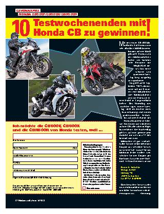10 Testwochenenden mit! Honda CB zu gewinnen