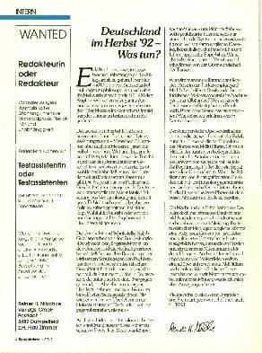 Deutschland im Herbst 92- Was tun