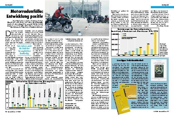 Motorradunfälle - Entwicklung positiv