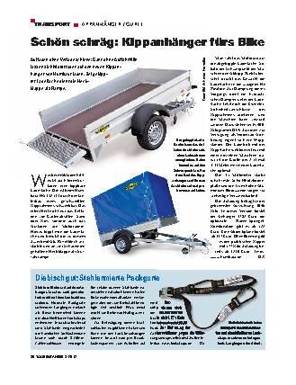 Transport: Kippanhänger fürs Bike / Spanngurte mit Diebstahlschutz